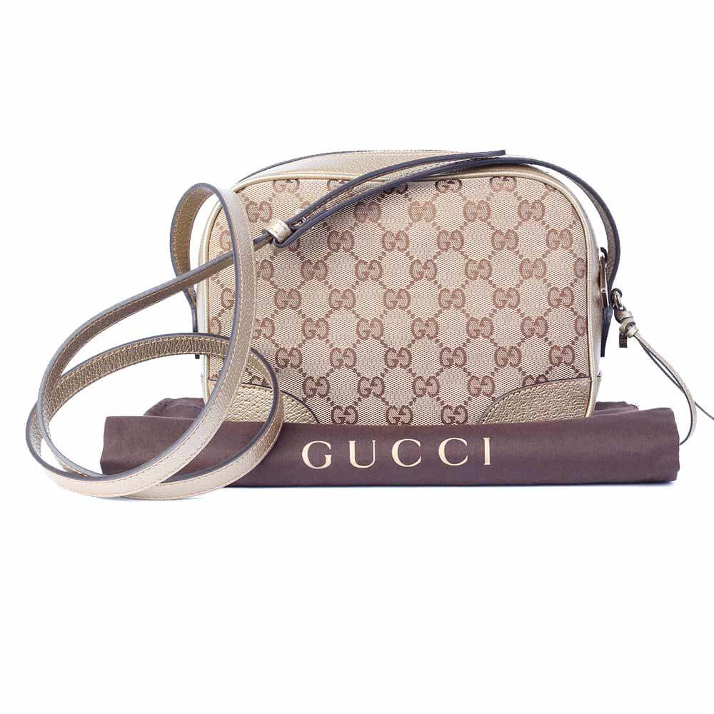 aa69202814e5d0 GUCCI NEW Metallic Leather and GG Canvas Disco Bag, Medium | Luxity