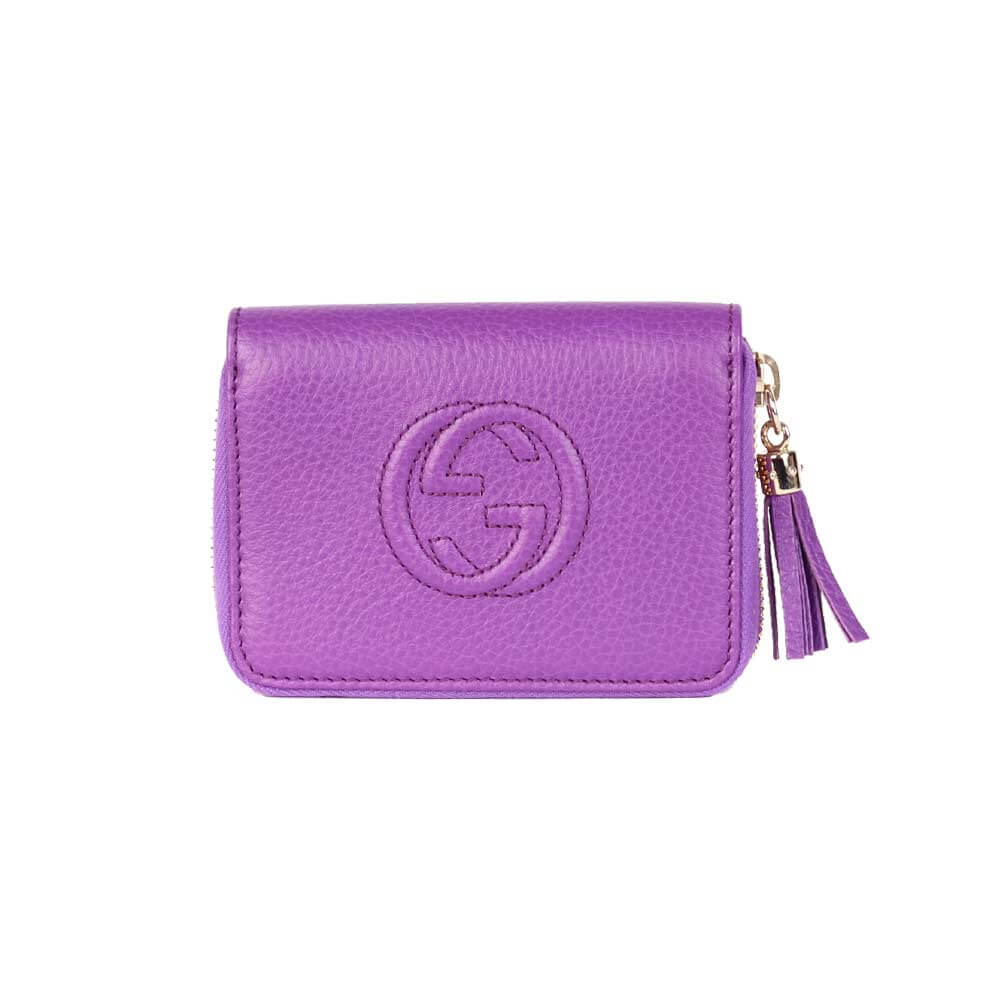 3bc577512de GUCCI Soho Leather Wallet Small Purple – NEW