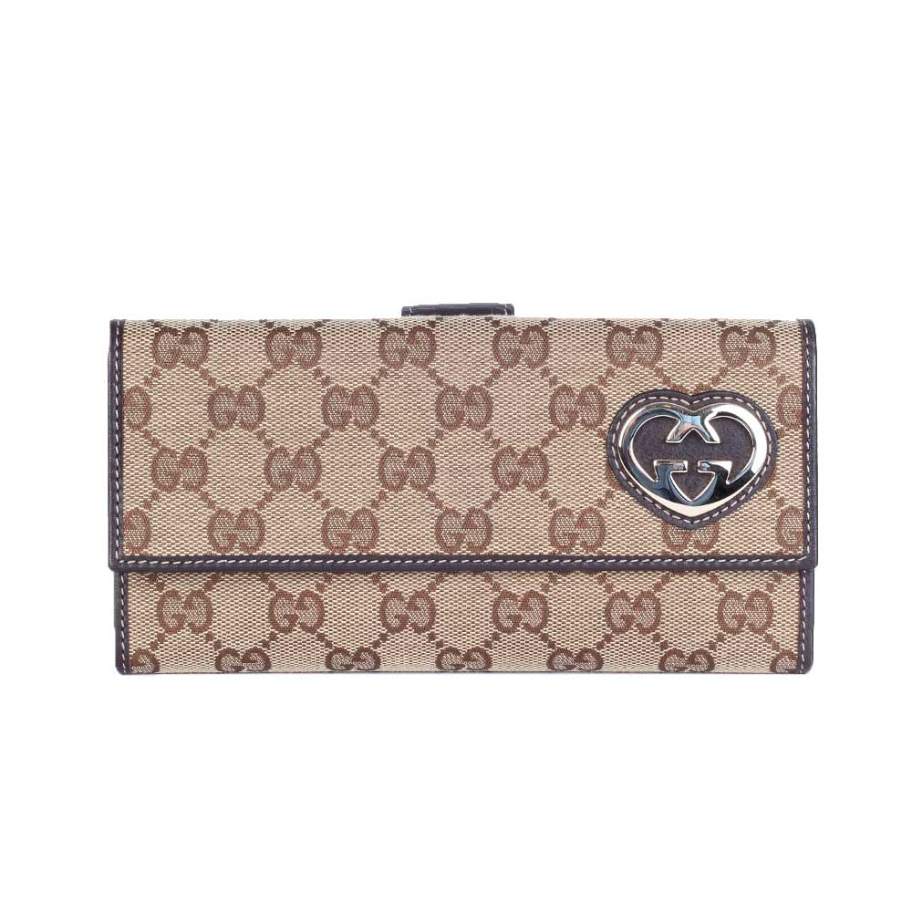 696315396e68 GUCCI Monogram Lovely Heart Continental Wallet Brown – NEW | Luxity
