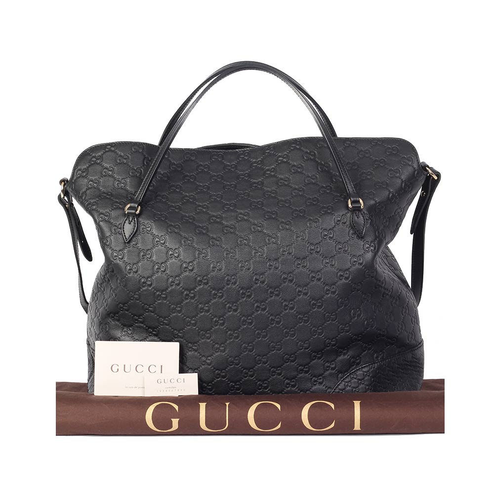 2c9c63a2b3302c GUCCI Guccissima Medium Bree Top Handle Tote, Black – NEW | Luxity
