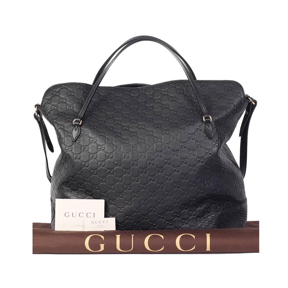 Gucci Guccissima Medium Bree Top Handle Tote Black New