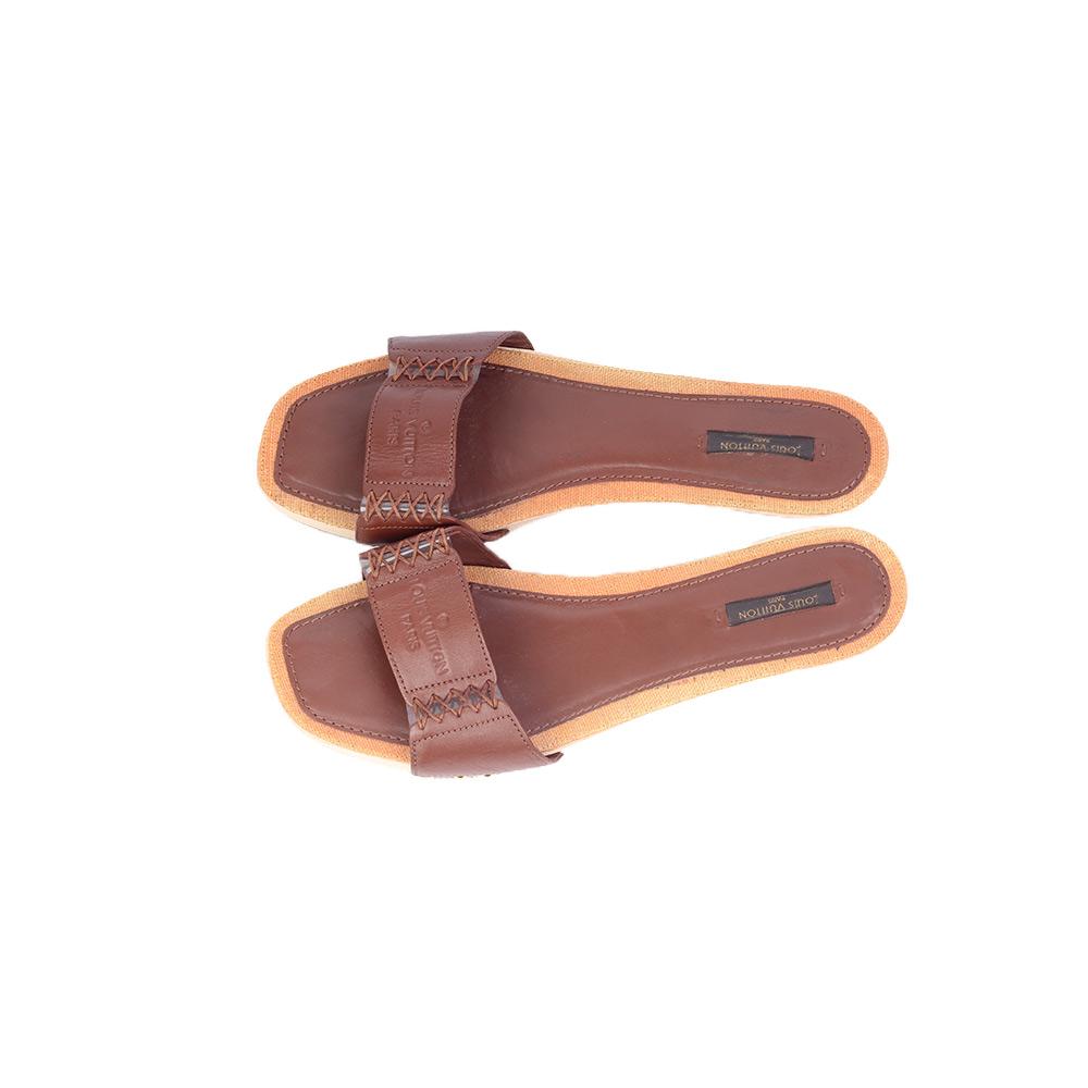 05237ea79 LOUIS VUITTON Brown Leather Wooden Slides Sandal – S 39