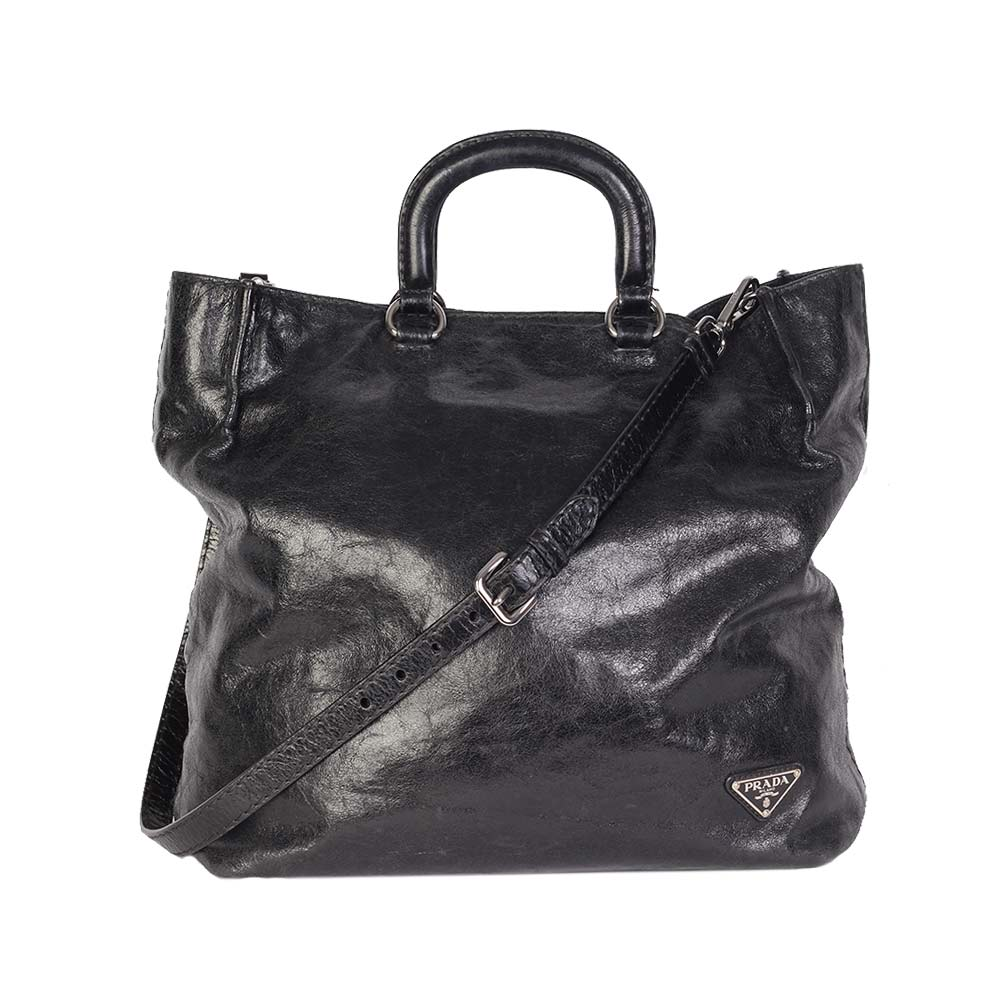 PRADA Glazed Calfskin Round Top Handle Tote
