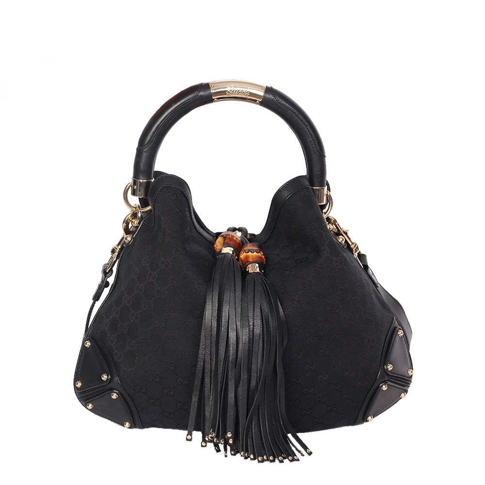 GUCCI Monogram Indy Hobo Tassel Bag Medium Black  07ec6c928