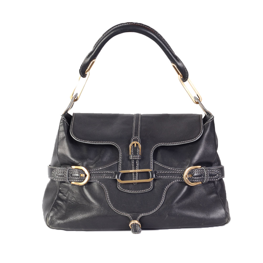 3e9479b176d4 JIMMY CHOO Leather Tulita Shoulder Bag Charcoal | Luxity