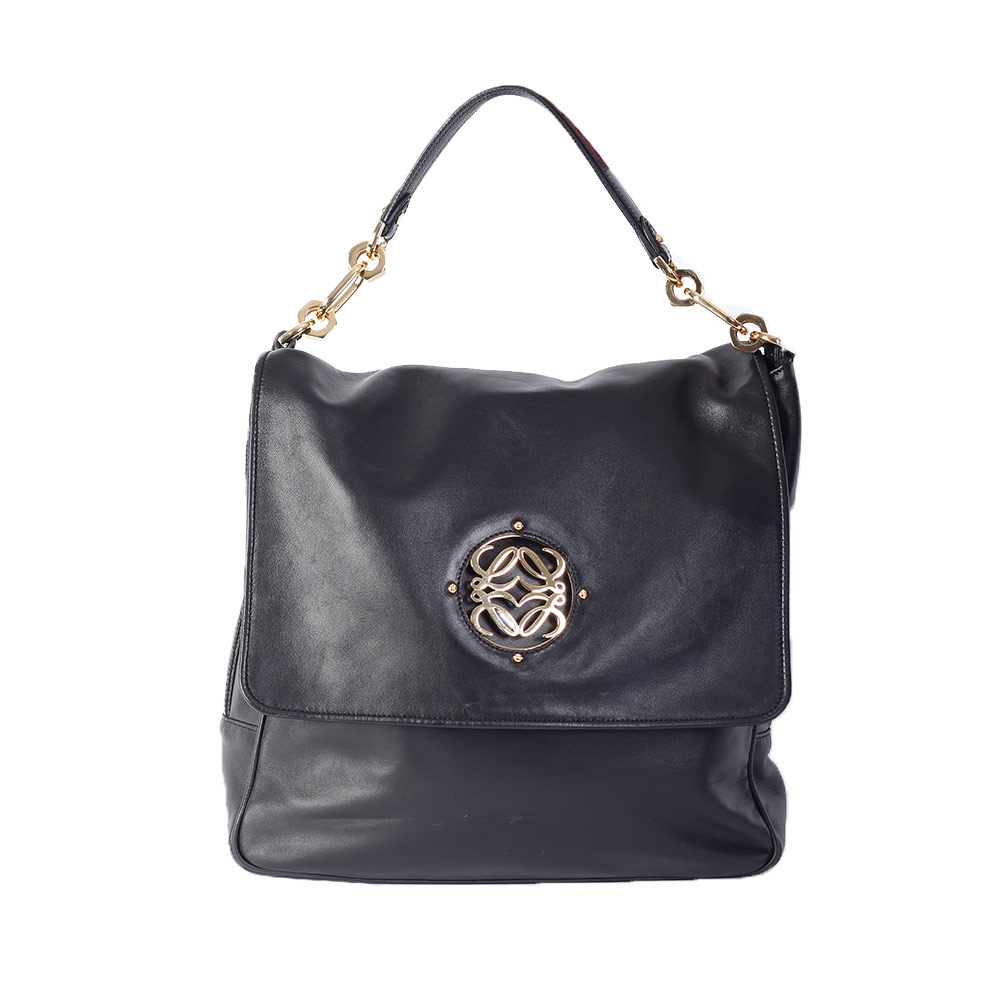 Loewe Maia Nappa Leather Tote Black Luxity