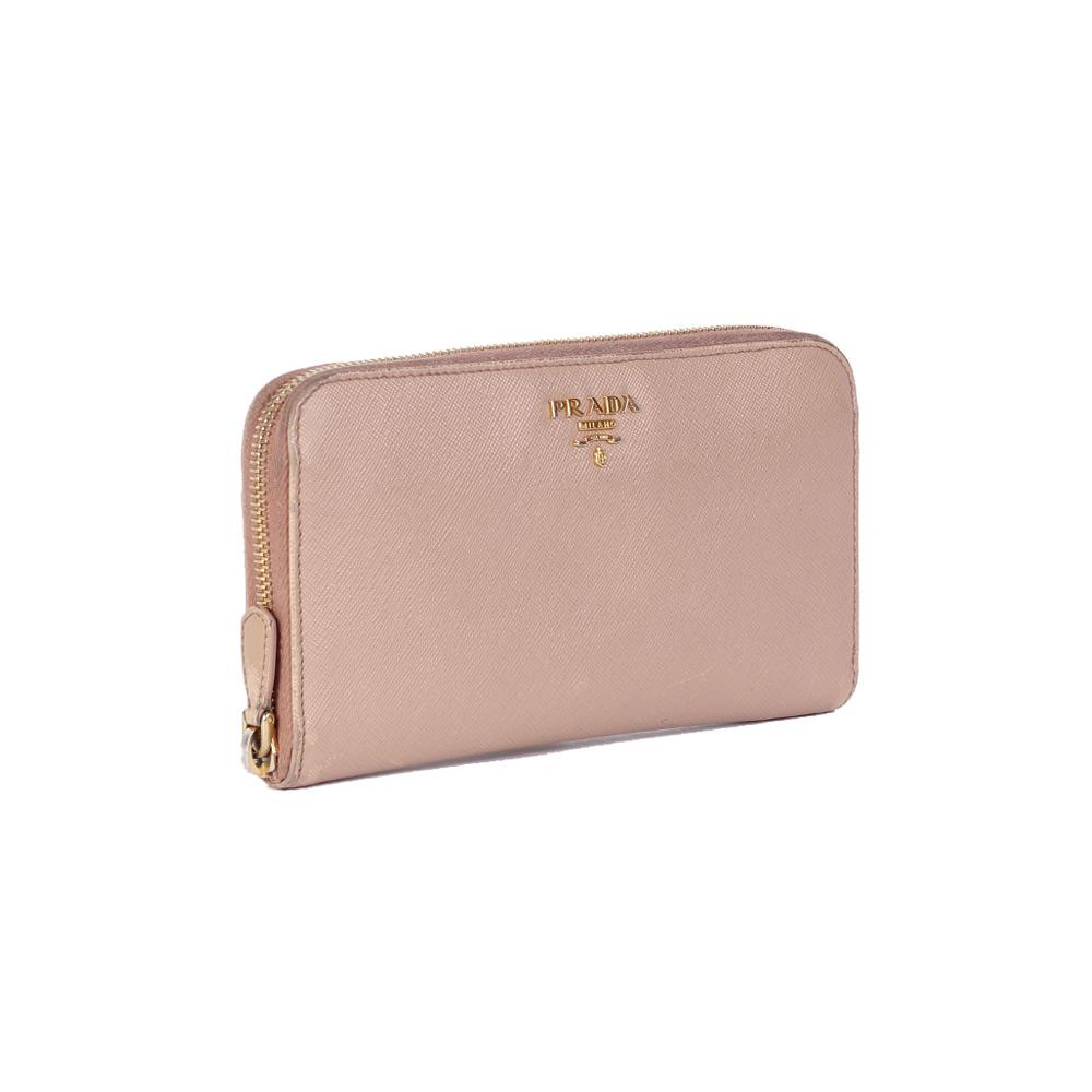 812032865fd1ad PRADA Saffiano Leather Zip Around Wallet Blush   Luxity