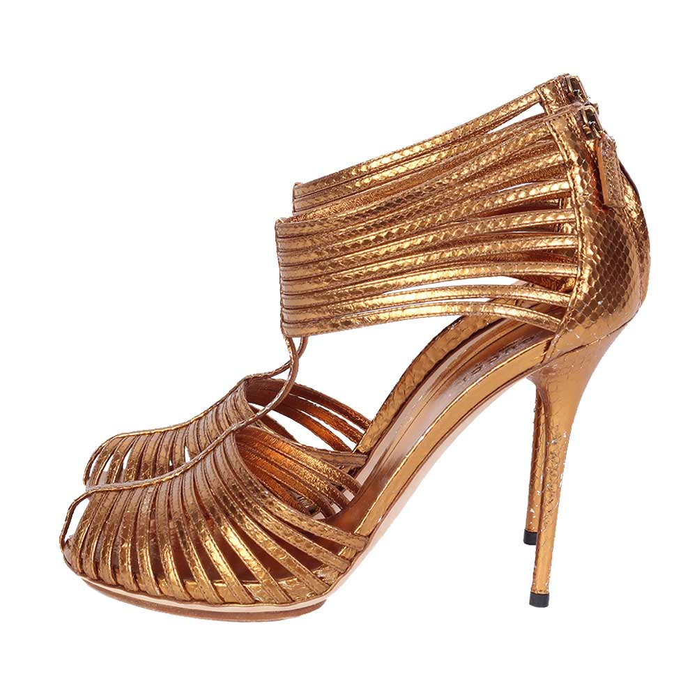 Gucci Bronze Metallic Gladiator Caged Heeled Sandal S