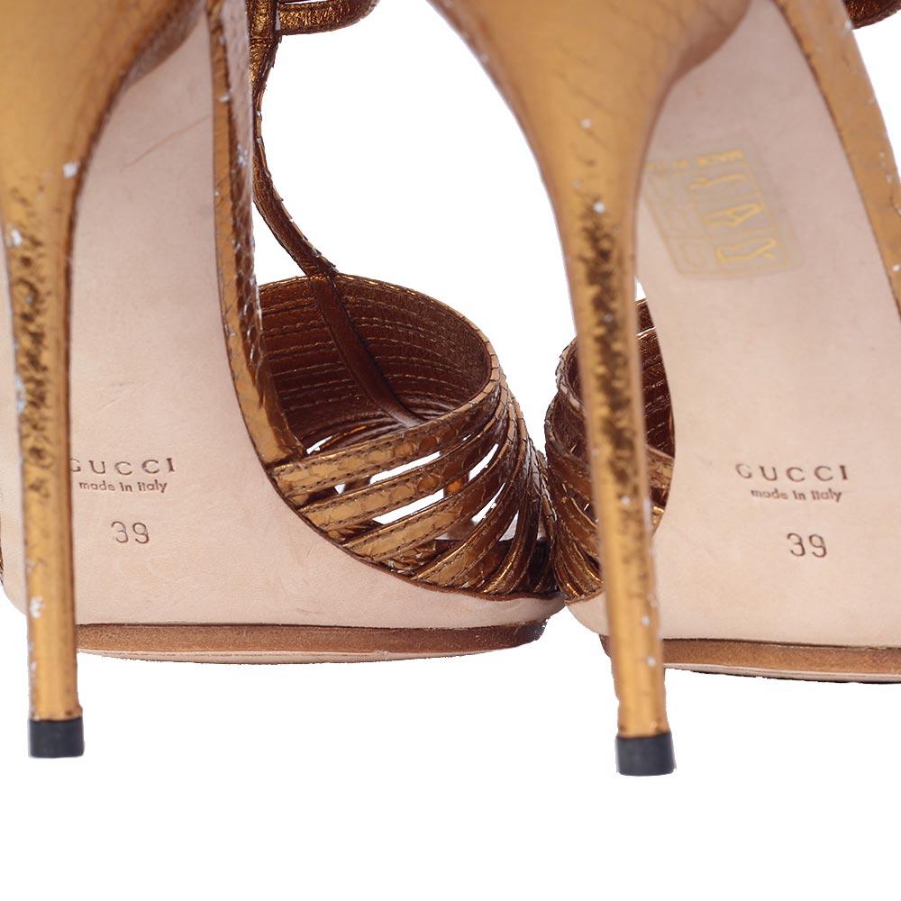 b032161bac75 GUCCI Bronze Metallic Gladiator Caged Heeled Sandal - S  39 (6)