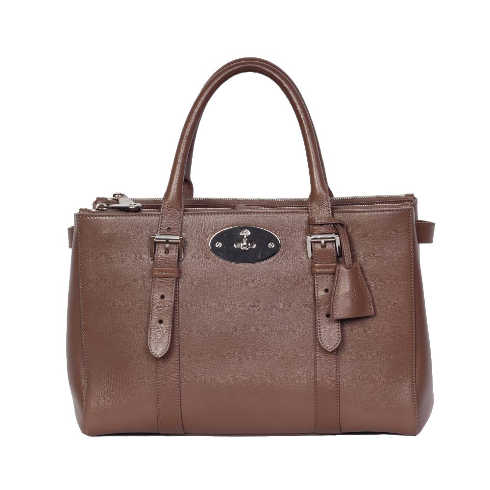 8a4ebb5da0a MULBERRY Taupe Bayswater Double Zip Shiny Goat Tote   Luxity
