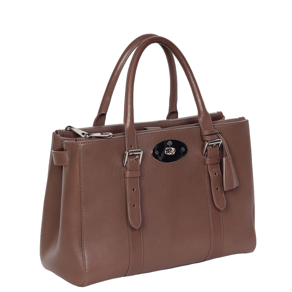 aead62456b4f MULBERRY Taupe Bayswater Double Zip Shiny Goat Tote