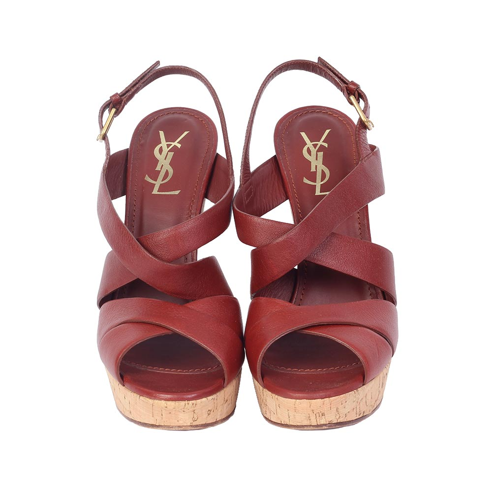 YVES SAINT LAURENT Deauville Leather Platform Wedges - S  40 (7 ... eff1c45b98
