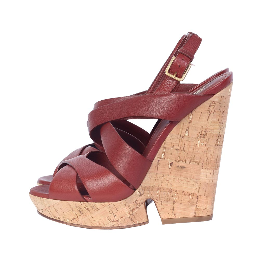 826414db378 YVES SAINT LAURENT Deauville Leather Platform Wedges - S: 40 (7 ...