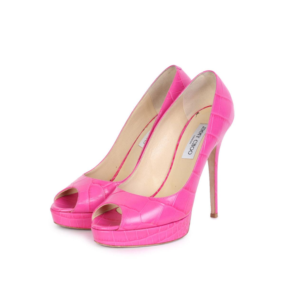 JIMMY CHOO Croc Crown Platform Peep Toe Pumps Pink – S: 40 (6.5)