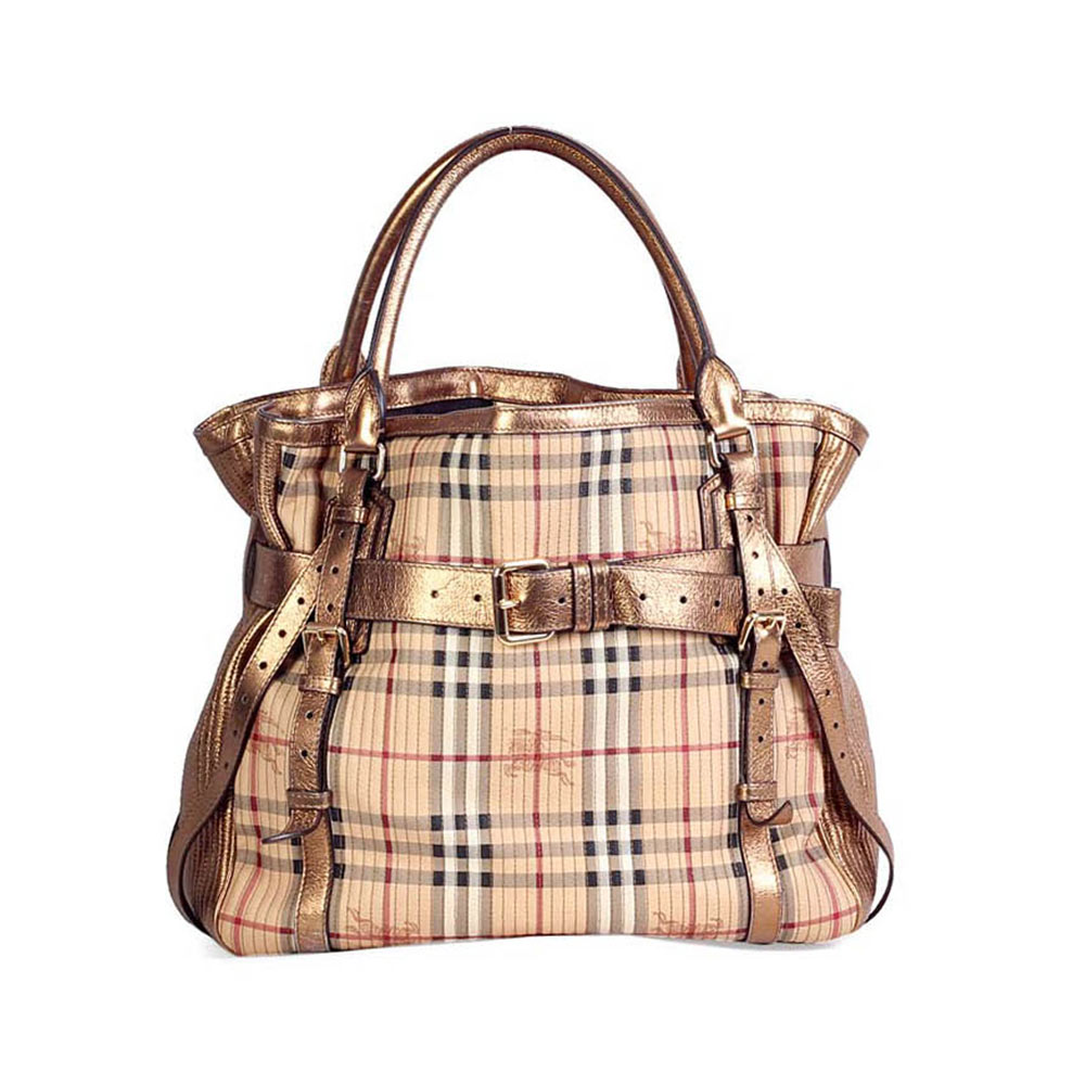 burberry haymarket check gold amelia tote luxity