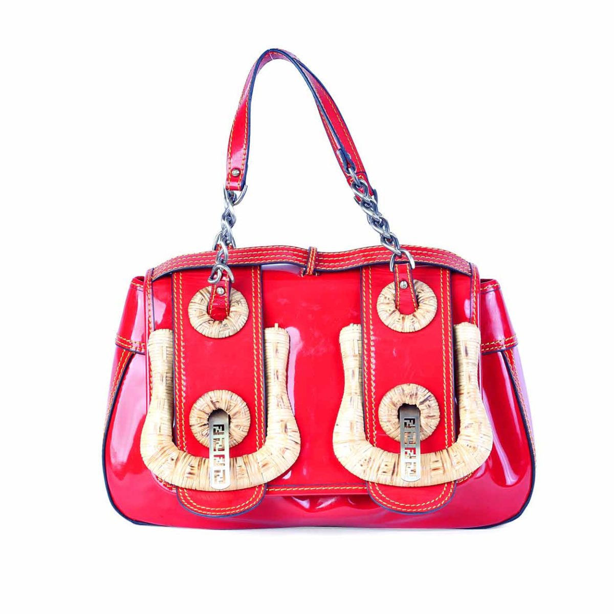 dd15128c87 FENDI Red Patent Bamboo B Bag - Limited Edition | Luxity