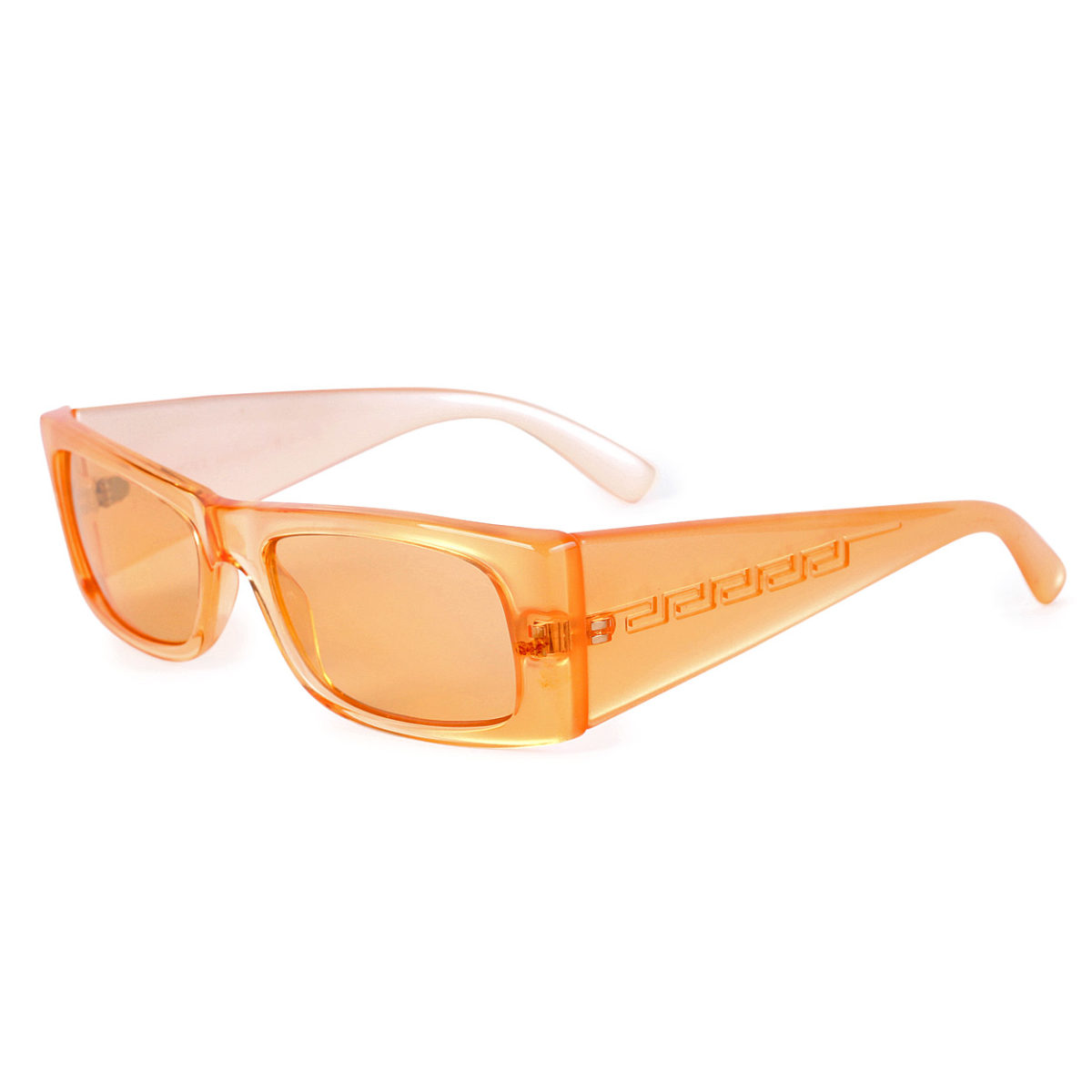 1b5a9136ccc4 VERSACE Retro Greek Key Motif Sunglasses Orange