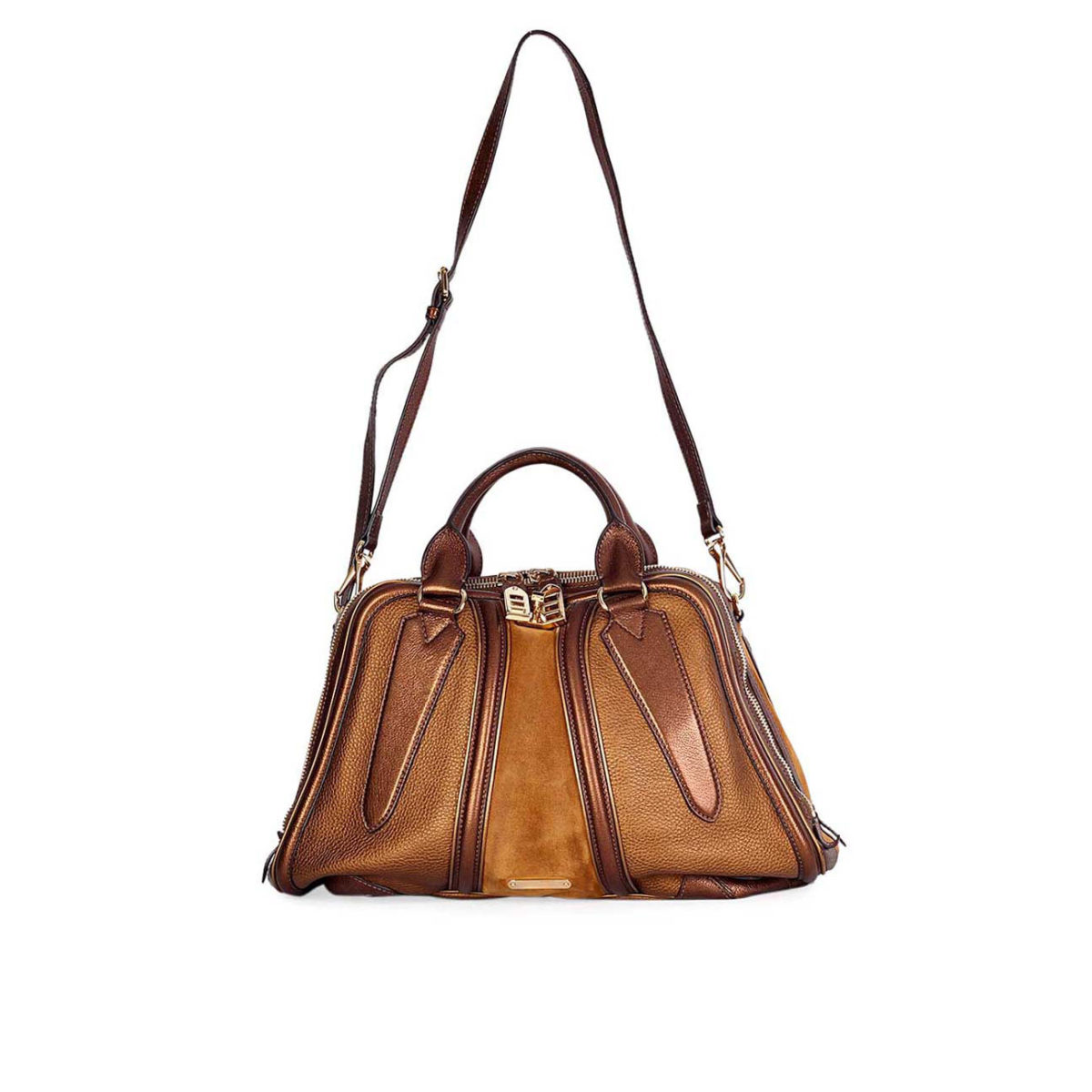 71886a3dc281 BURBERRY Metallic Leather   Suede Bowling bag