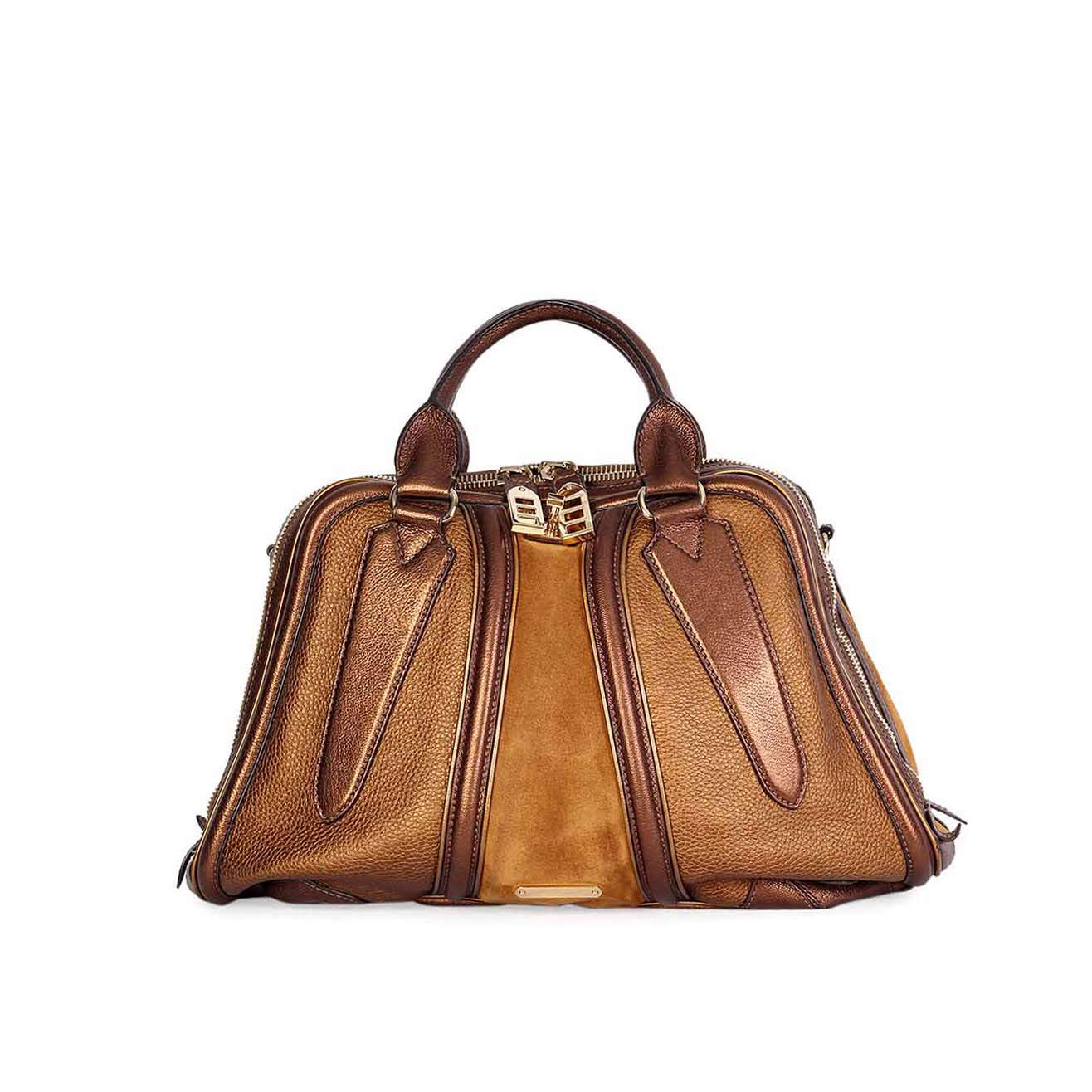 Burberry Metallic Leather Amp Suede Bowling Bag Luxity