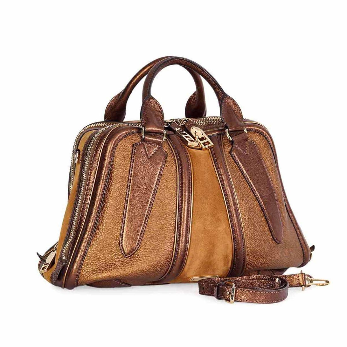 BURBERRY Metallic Leather   Suede Bowling bag  0369b9403348f