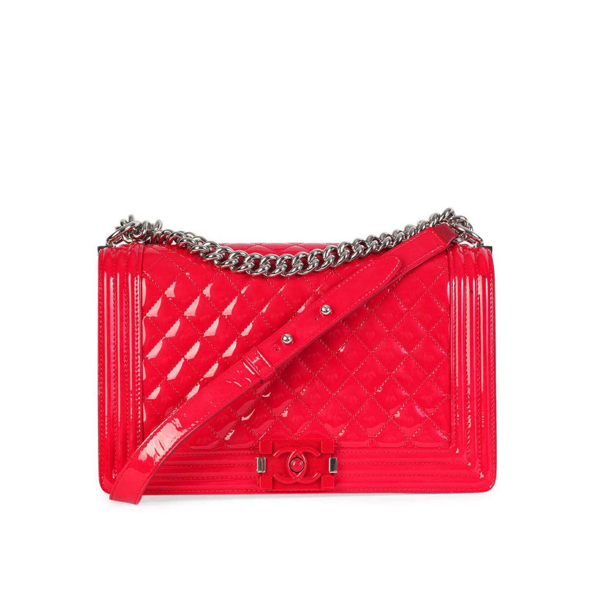 9b33232601f9 CHANEL New Medium Boy Flap Red Patent Leather | Luxity