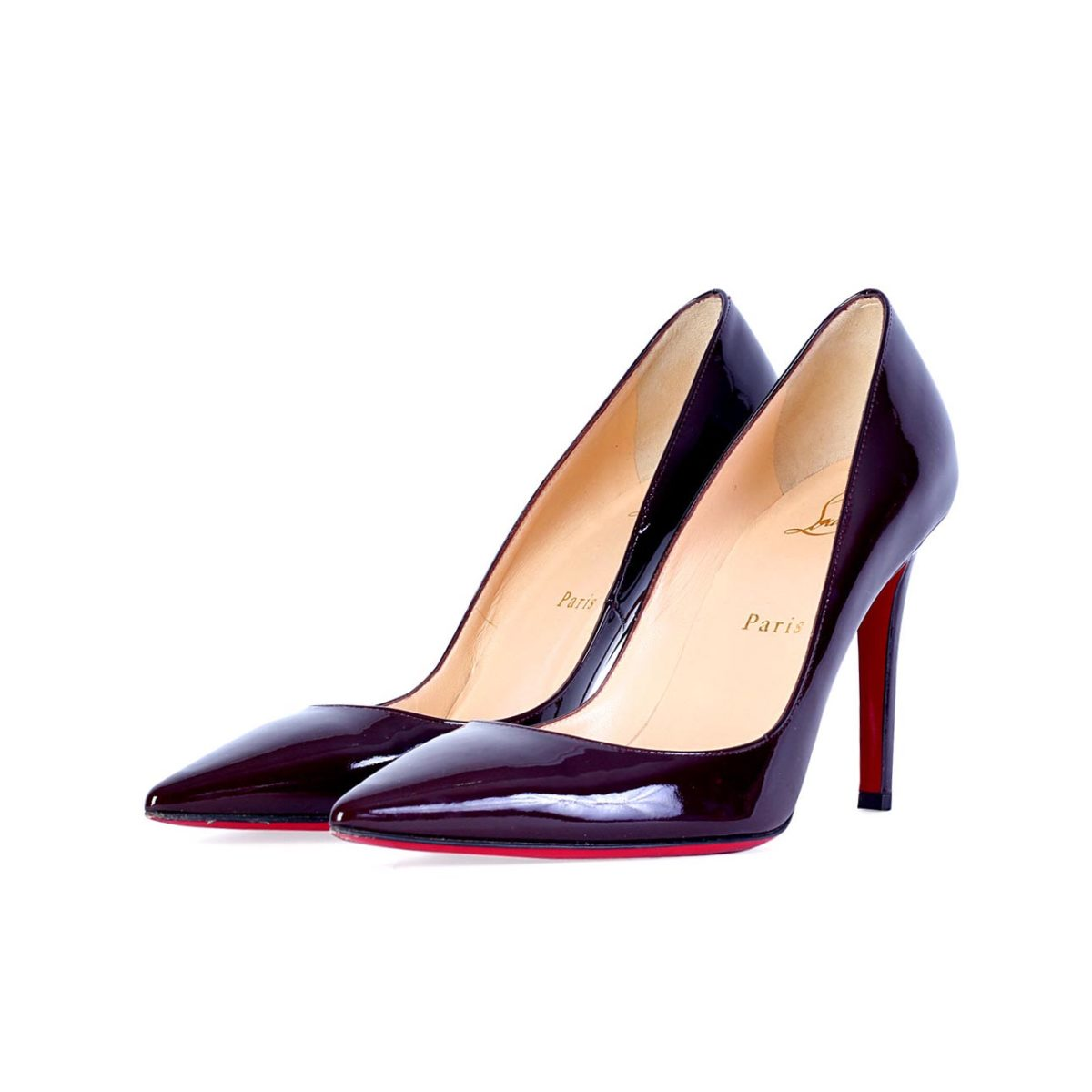 4c71ec2e42d CHRISTIAN LOUBOUTIN Pigalle 100mm Patent Leather Shoes maroon – S ...