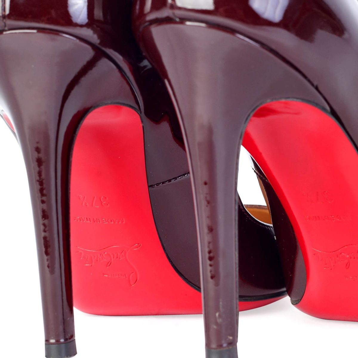 74e147ff62c CHRISTIAN LOUBOUTIN Pigalle 100mm Patent Leather Shoes maroon – S  37.5 ...