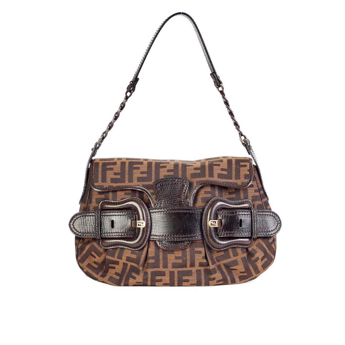 046e7d5fc3a4 FENDI Zucca Buckle Handbag