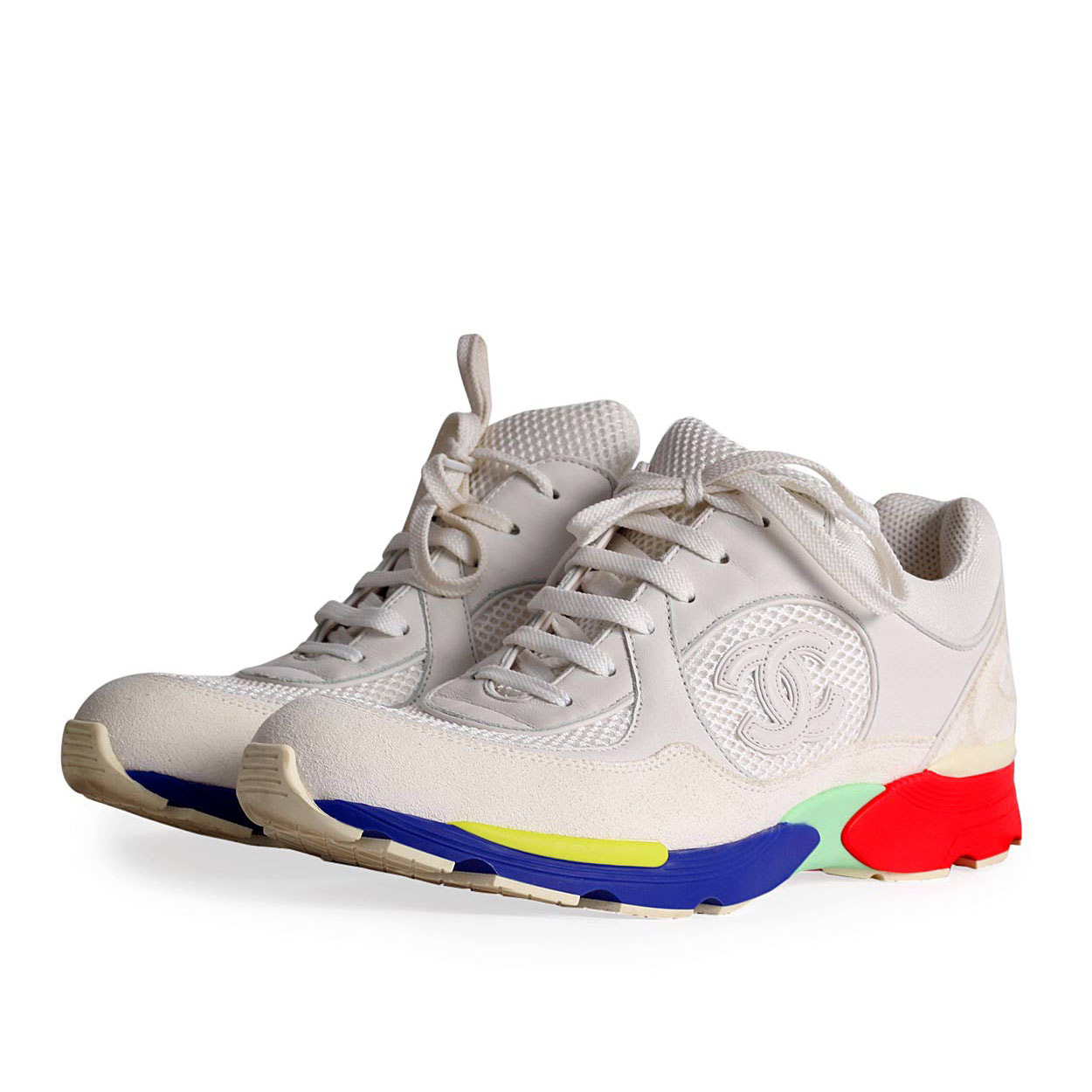 CHANEL Fabric Sneakers with Multicolor Sole
