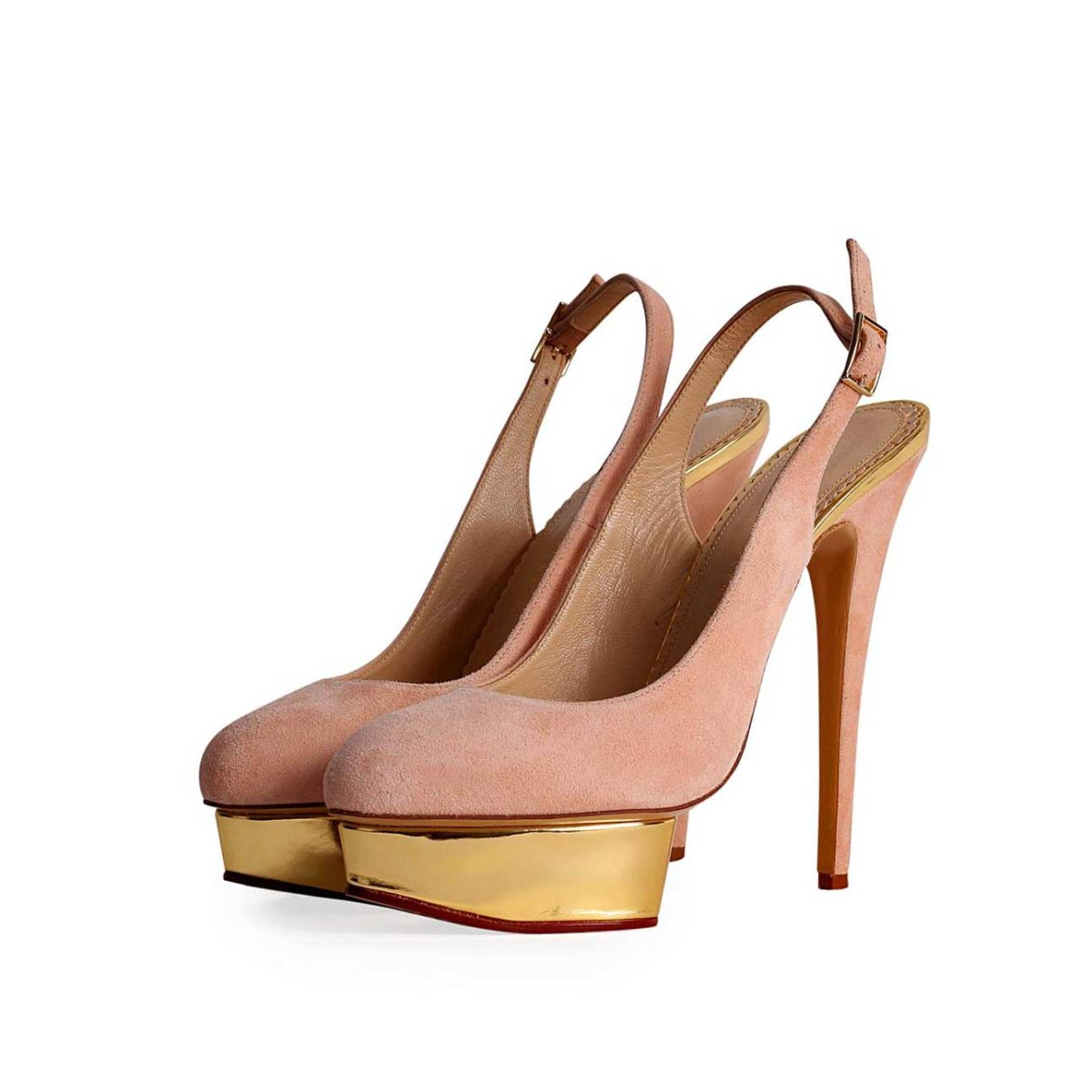 3ce2024fb8 CHARLOTTE OLYMPIA Suede Dolly Slingback Pumps Nude - S  41 (7.5 ...