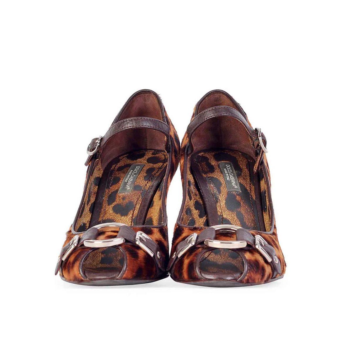 296af19f1614 DOLCE & GABBANA Calf Hair Leopard Print Peep-Toe Heels - S: 36 (3.5 ...