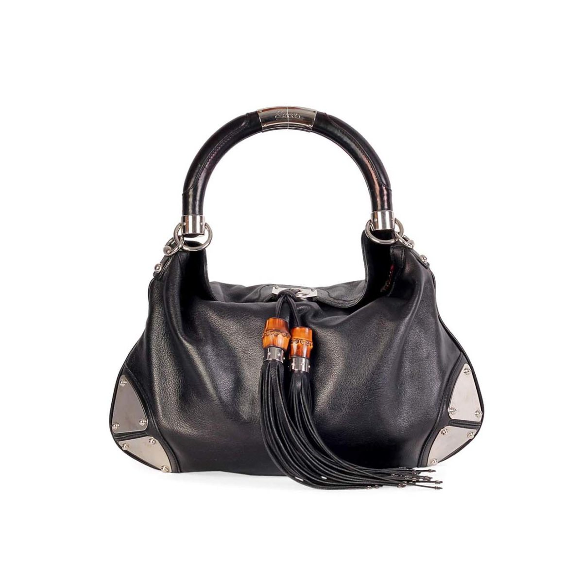 GUCCI Leather Indy Hobo Tassel Bag Medium Black  b22378e85e229