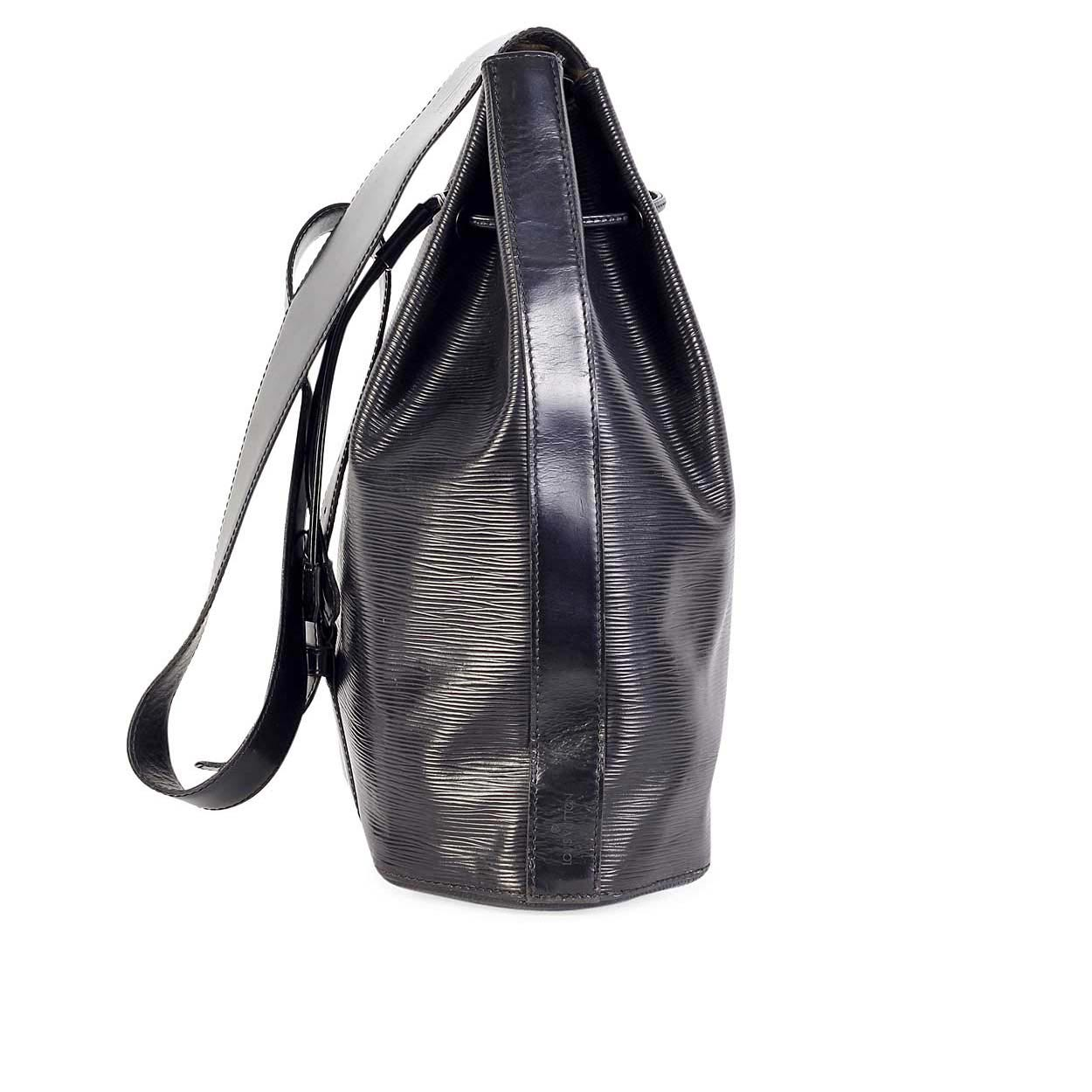 louis vuitton vintage epi sac dos drawstring black noir luxity