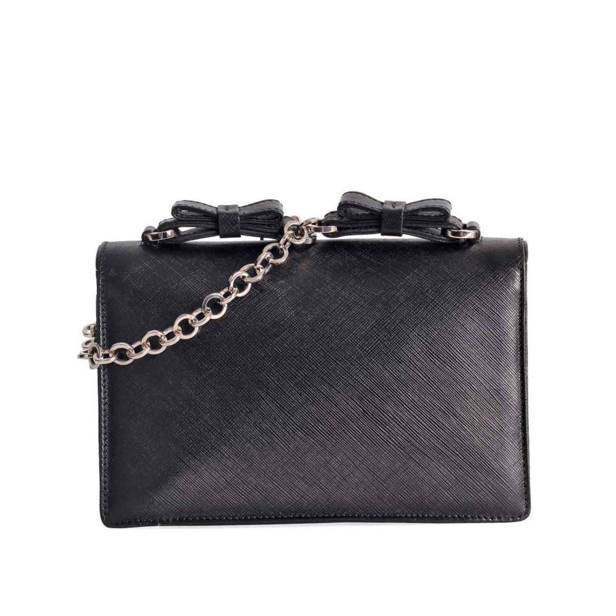 d7775e46900b SALVATORE FERRAGAMO Black Saffiano Leather Chain Link Strap Shoulder ...