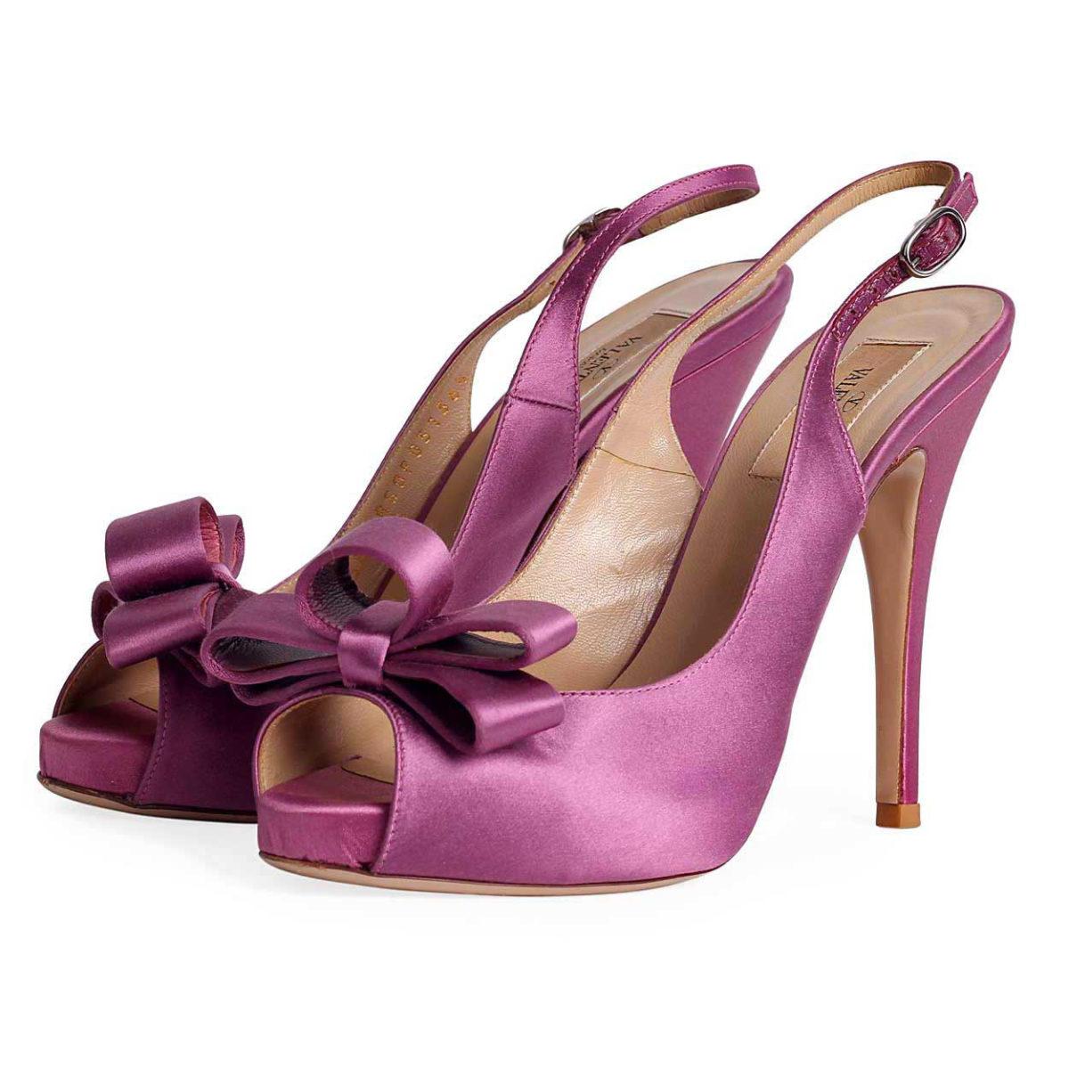 f80051cb5ed VALENTINO Open Toe Satin Slingback Heels with Bow Detail – S  36.5 ...