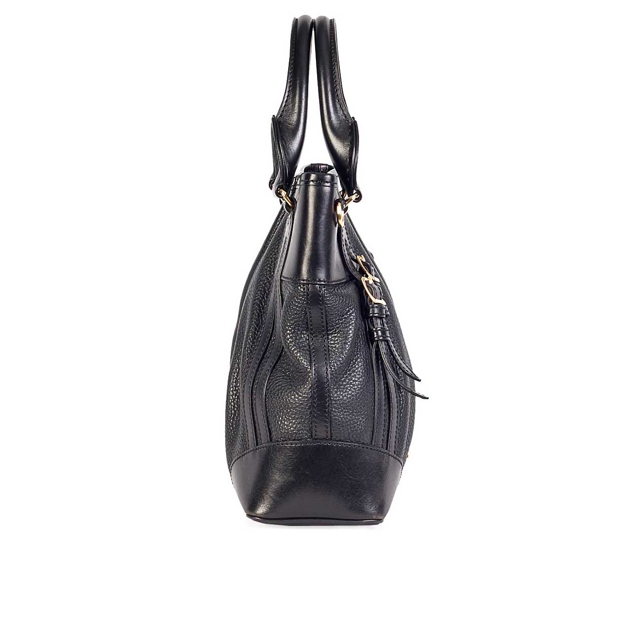 burberry gray bag zjld  BURBERRY Graned Leather Bucket Bag- Side 1