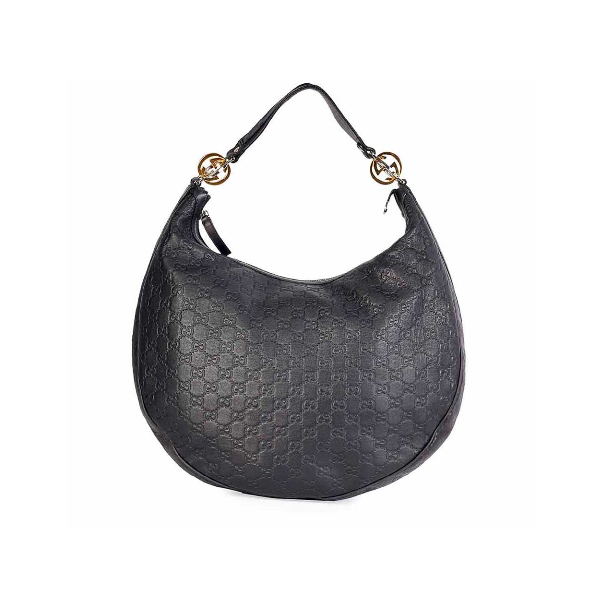 8f90fb1483ac GUCCI Guccissima Twins Hobo Black Large | Luxity