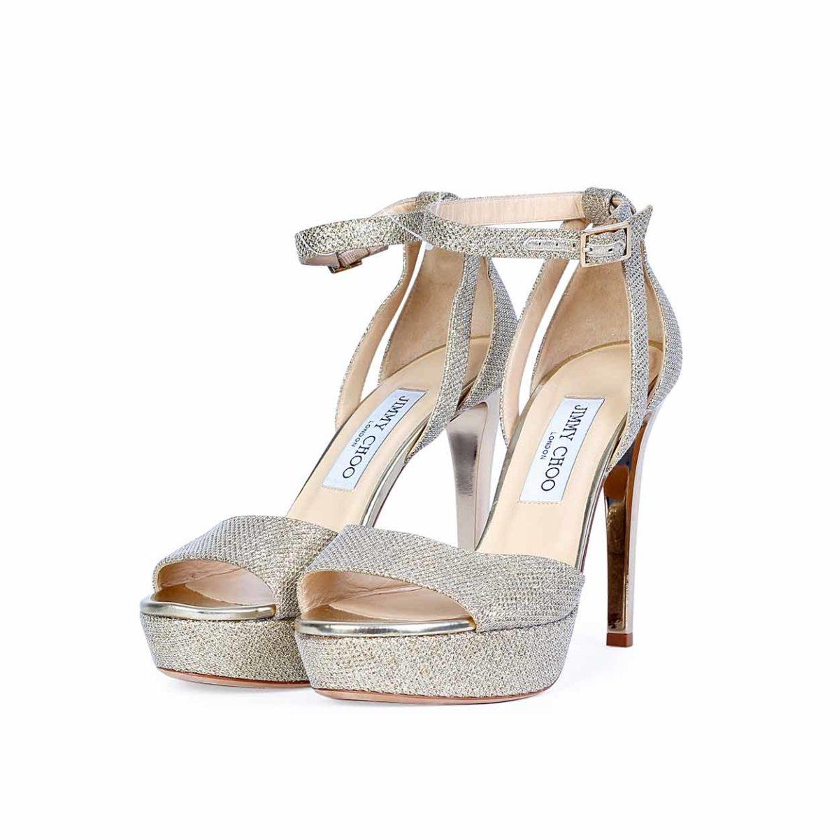1541b05492a JIMMY CHOO Kayden Champagne Glitter Fabric Platform Sandals - S ...