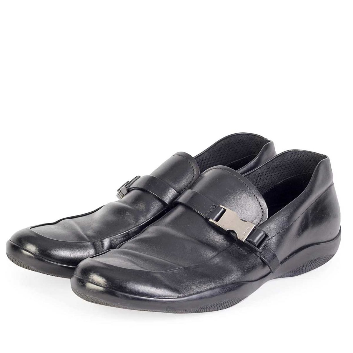 a5e499a5d8 PRADA Black Leather Mens Loafers with Rubber Soles - S: 46 (11)