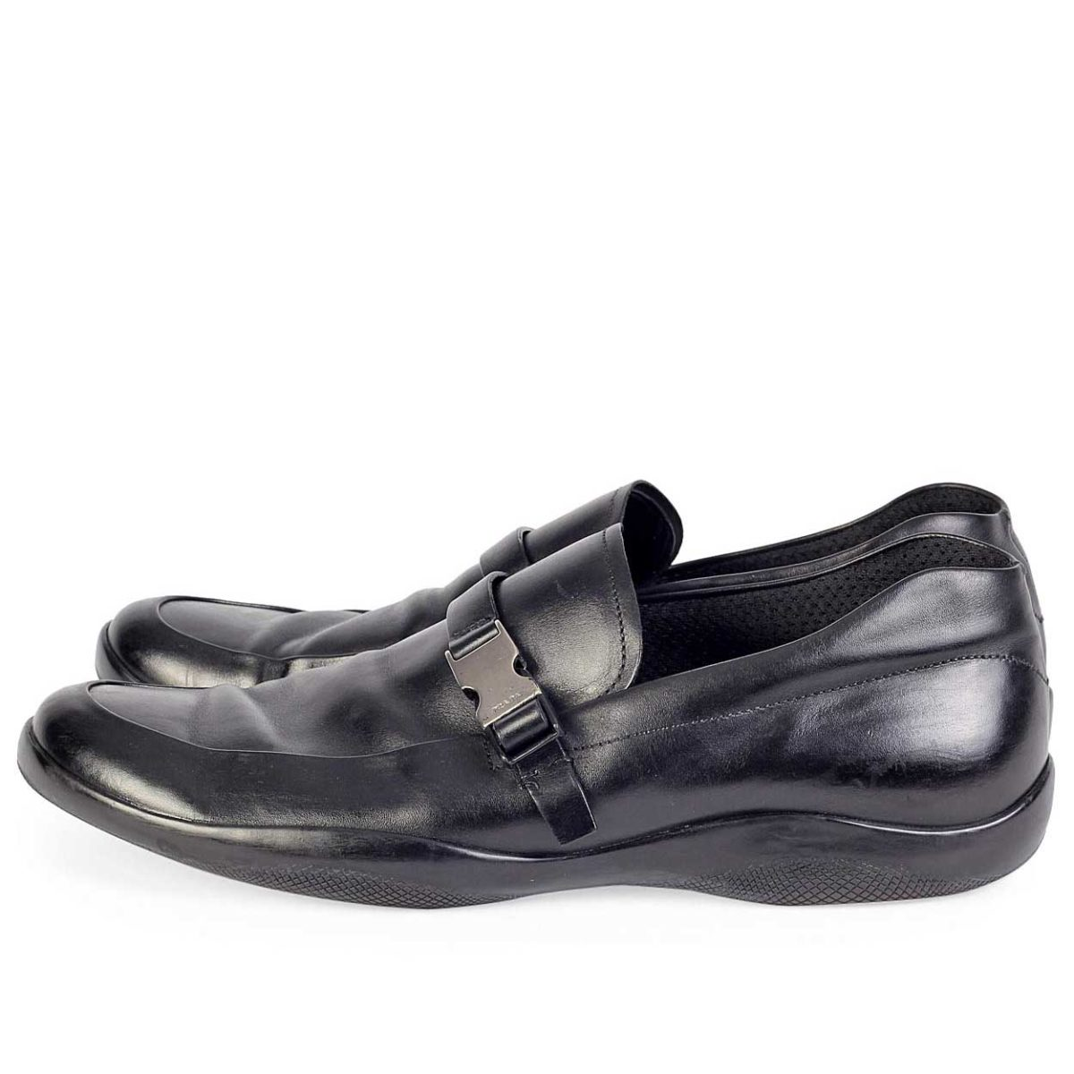 b3d769e76516 PRADA Black Leather Mens Loafers with Rubber Soles - S  46 (11)
