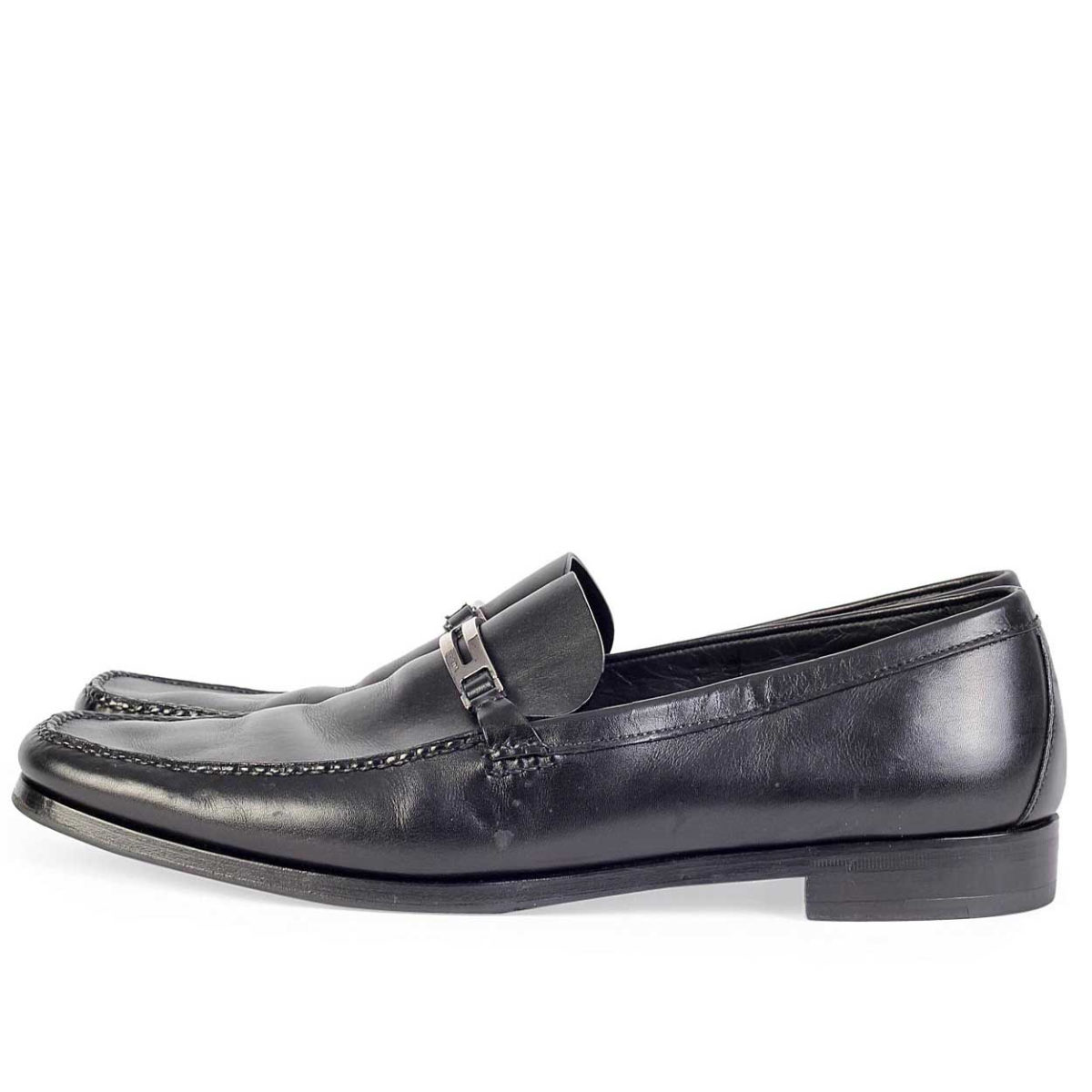 7e76569bcb6a PRADA Black Leather Mens Loafers with Logo Plate - S  46 (11)