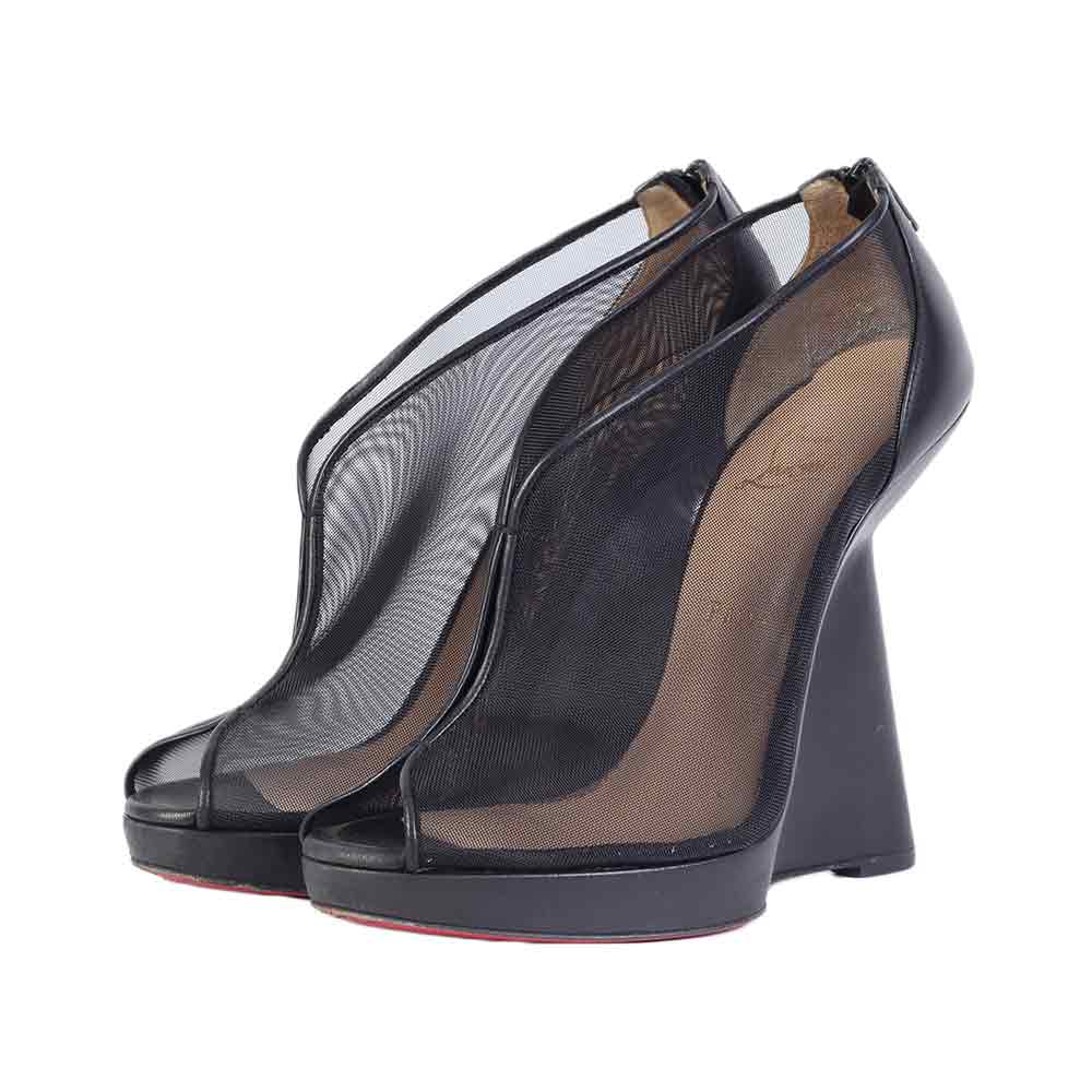 ff634f3420 CHRISTIAN LOUBOUTIN Mesh Janet 120 Wedges Black - S: 40.5 (7) | Luxity