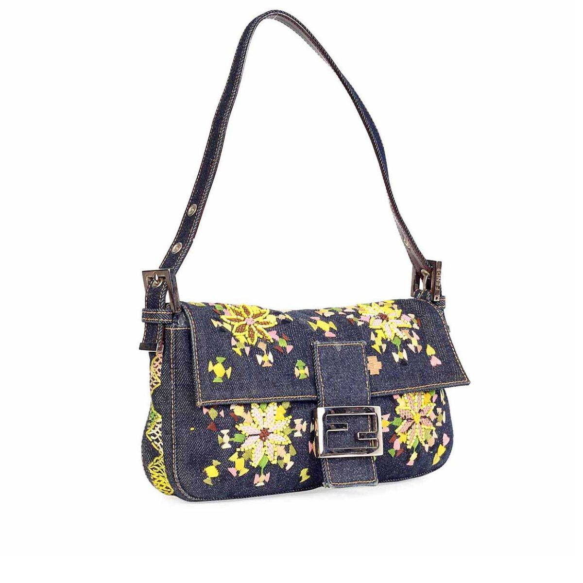 FENDI Denim Baguette with Floral Embroidery   Beads  0178293ca1af7