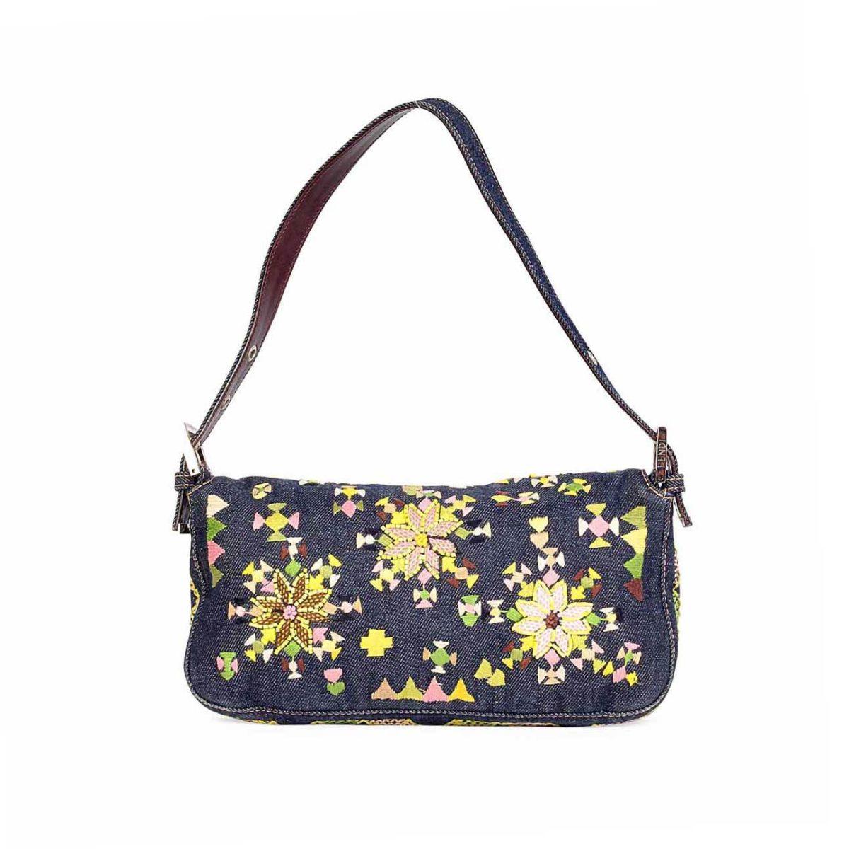 a312f0de57 FENDI Denim Baguette with Floral Embroidery   Beads