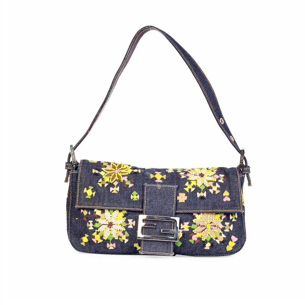 FENDI Denim Baguette with Floral Embroidery & Beads