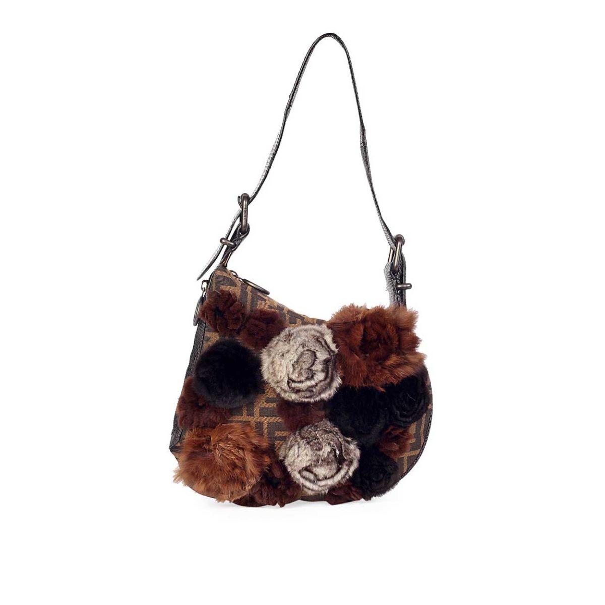 4170c60c7832 FENDI Fur Rosette Zucca Oyster Bag