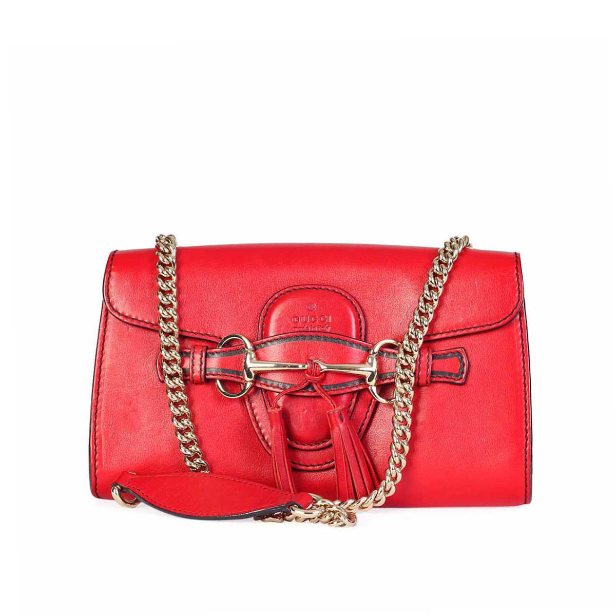 a2d23550751a GUCCI Emily Horsebit Tassel Chain Strap Shoulder Bag Red | Luxity