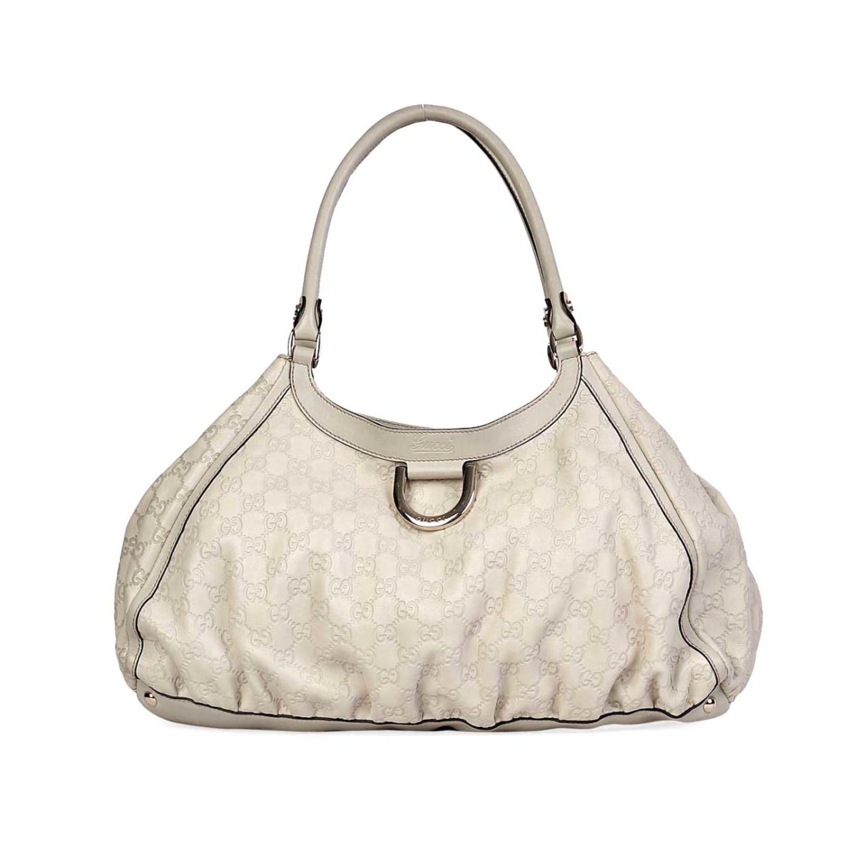 3568df510a64 GUCCI Guccissima Large D Gold Shoulder Bag Ivory | Luxity