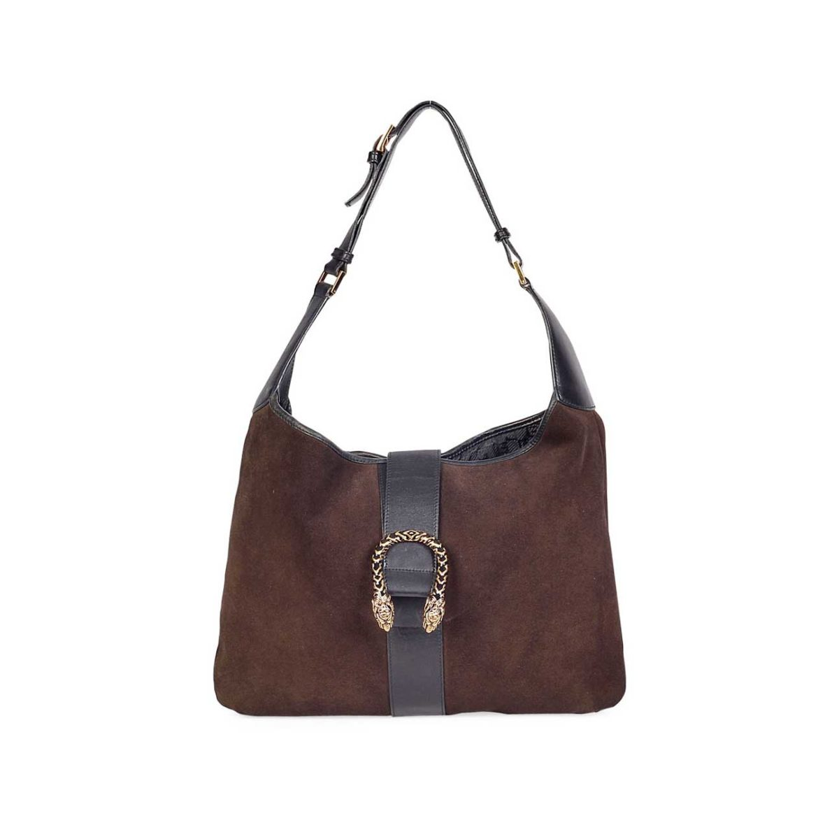 9aa55e5ee2f6c1 GUCCI Vintage Suede Double Tiger Head Clasp Jackie-O Style Hobo | Luxity