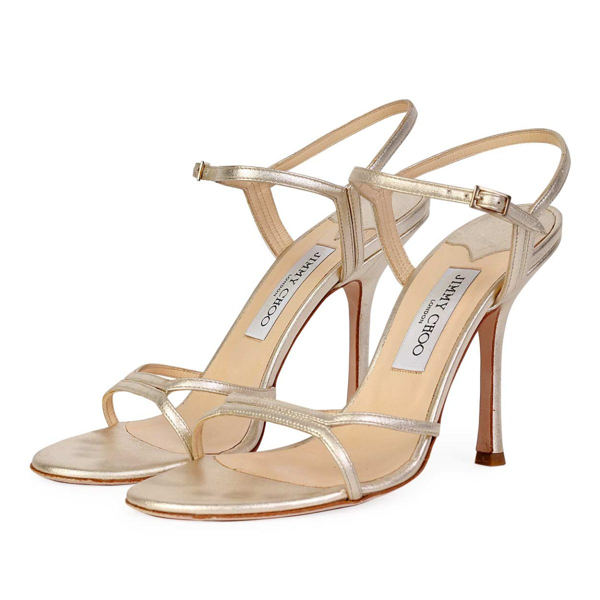 93200fdc565 JIMMY CHOO Gold Nappa Strappy Sandals - S  40 (6.5)